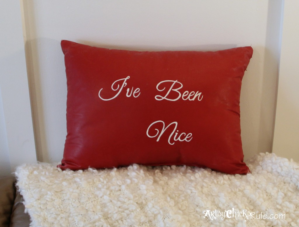 Naughty and Nice Pillow Painted with Emperors Silk Chalk Paint- Nice Side