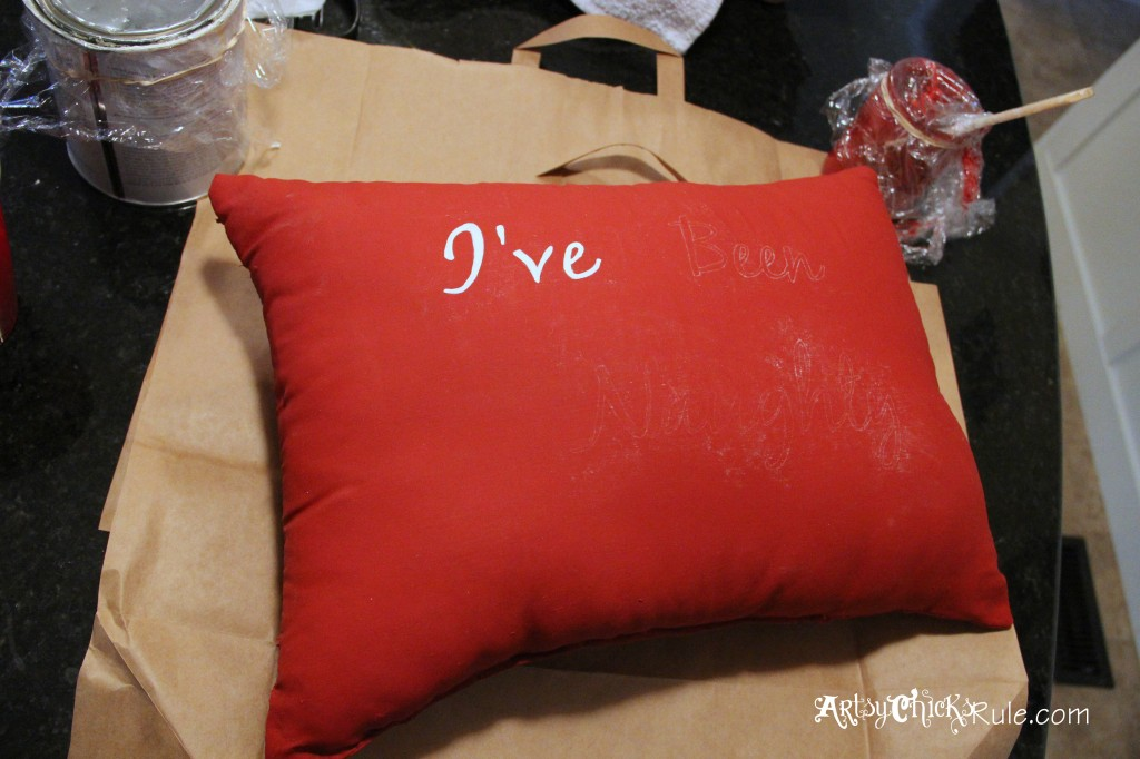 Naughty and Nice Pillow Painted with Emperors Silk Chalk Paint - Painting in the letters