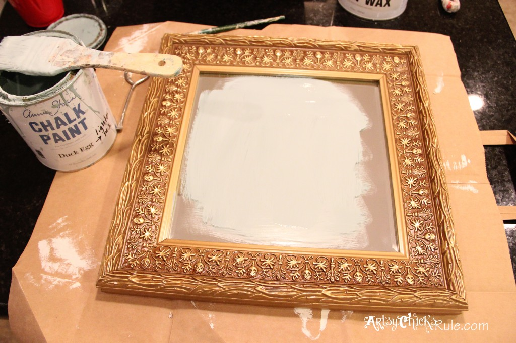 baby it's cold outside- thrift store mirror- painting with Duck Egg Blue Chalk Paint