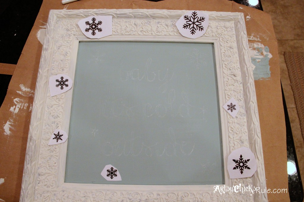 baby, it's cold outside - thrifty artwork - Duck Egg Blue Chalk Paint-graphics transferred