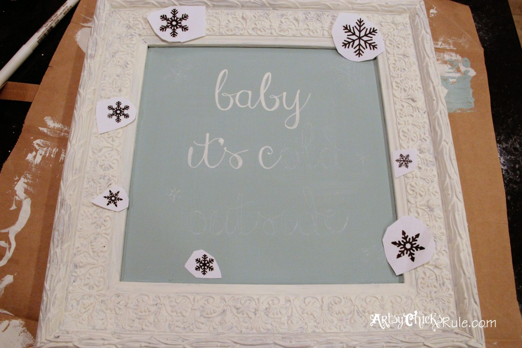 baby, it's cold outside - thrifty artwork - Duck Egg Blue Chalk Paint -painting in the graphics