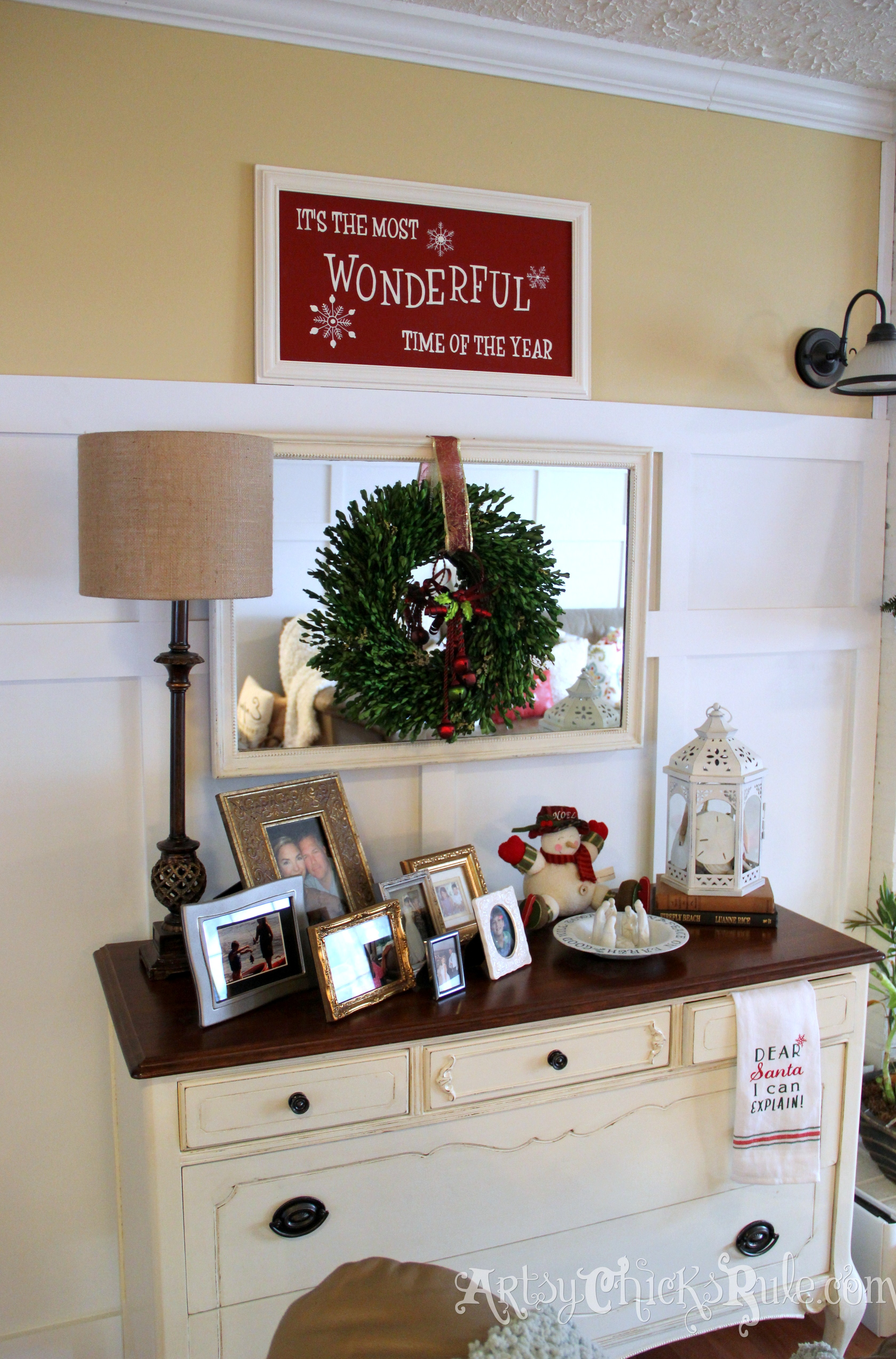 antique dresser holiday decor holiday home tour - Dresser Decor