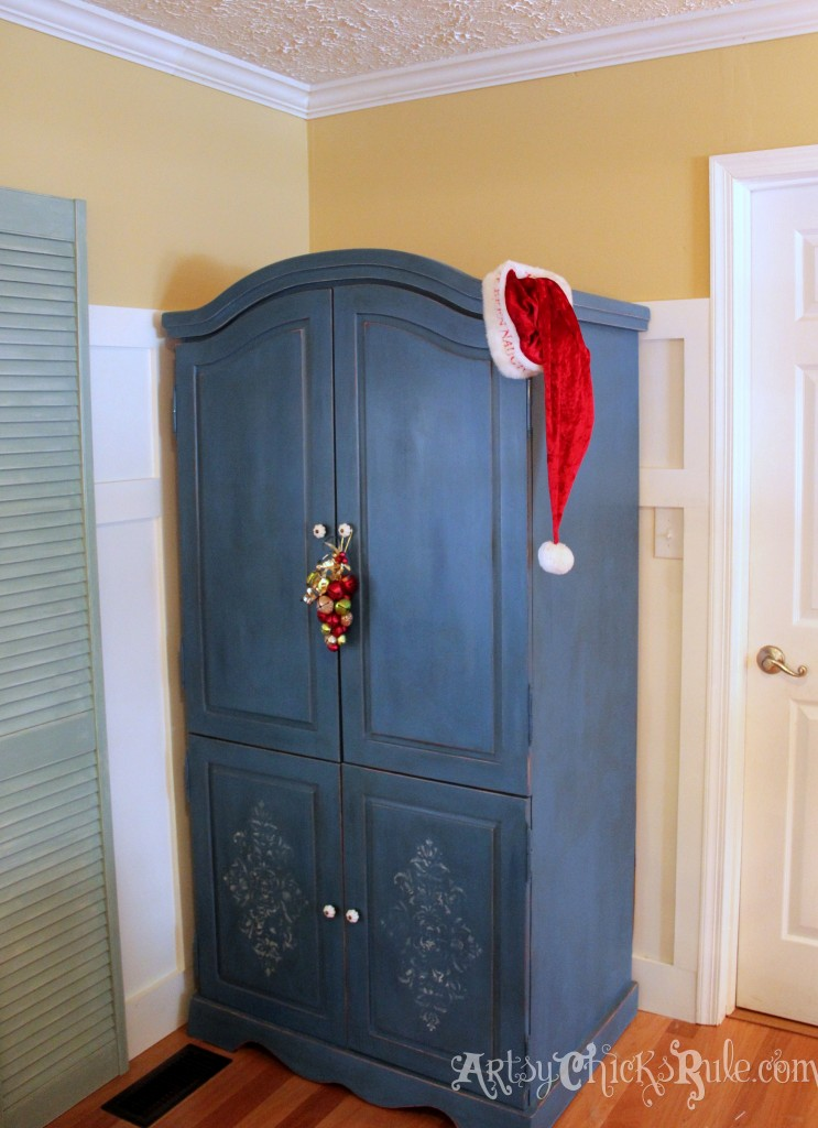 Chalk Painted Blue Armoire decorated for the holidays - Holiday Home Tour