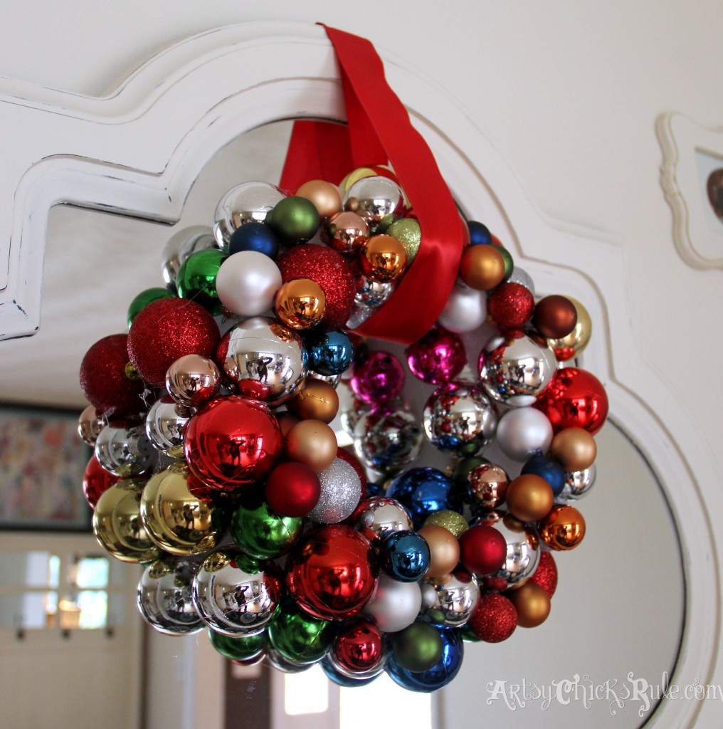 DIY wreath with thrift and dollar store ornaments