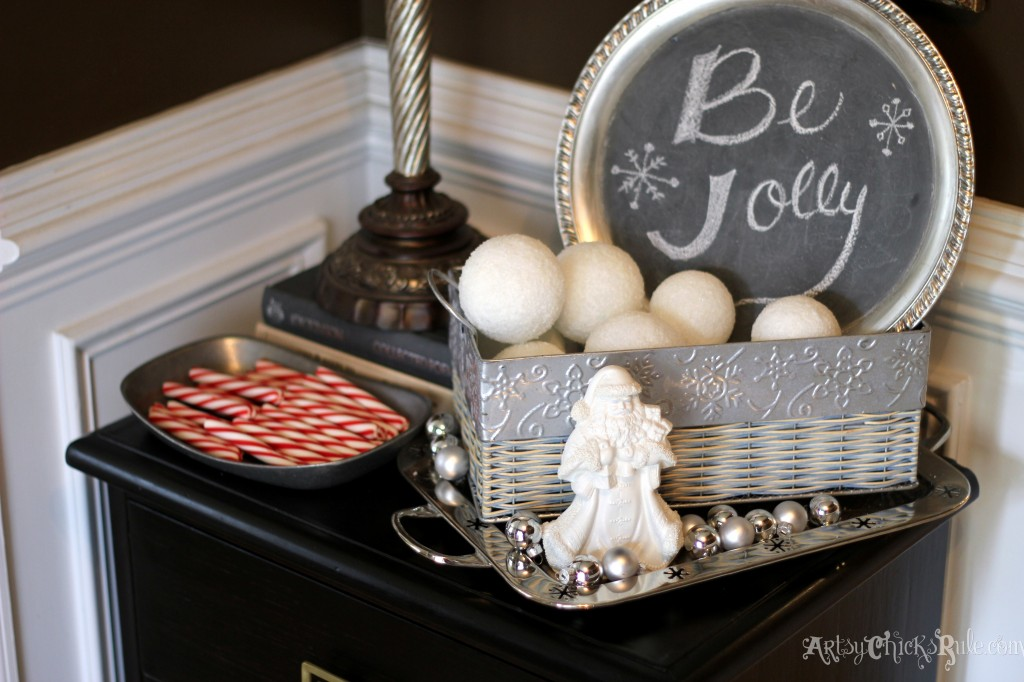 Foyer table up close - decorated with thrifty finds - Holiday Home Tour