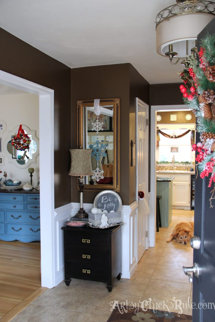 My holiday home tour how to decorate on a budget part 2 for Foyer decorating ideas on a budget