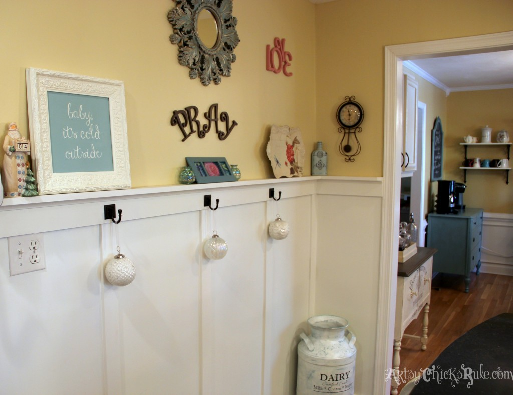 Kitchen wall with holiday decorations - Holiday Home Tour