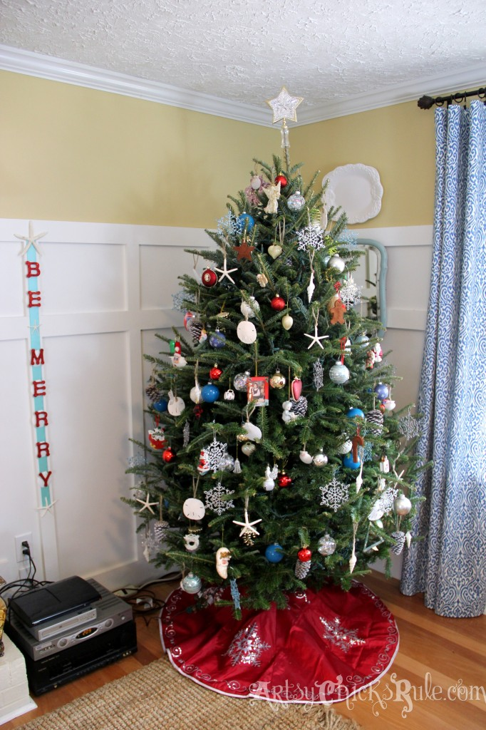 Nautical themed Christmas Tree without lights on - Holiday Home Tour