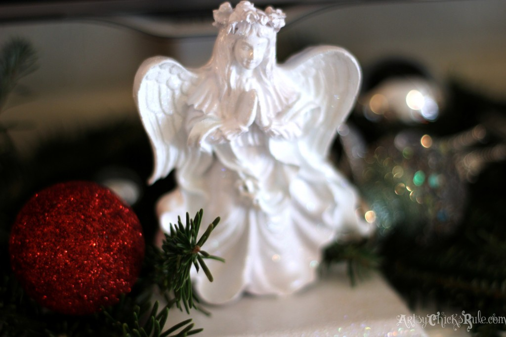 Thrift store Angel stocking holder painted white with sparkles - Holiday Home Tour