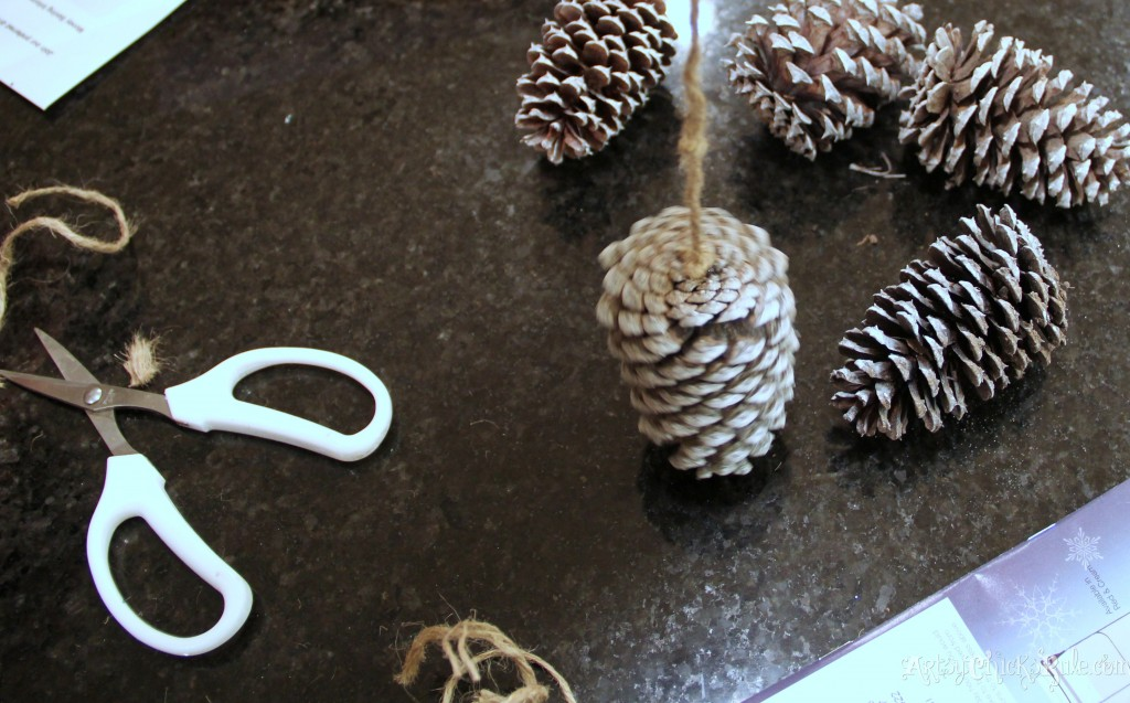 Twine hot glued to the center of the pine cone
