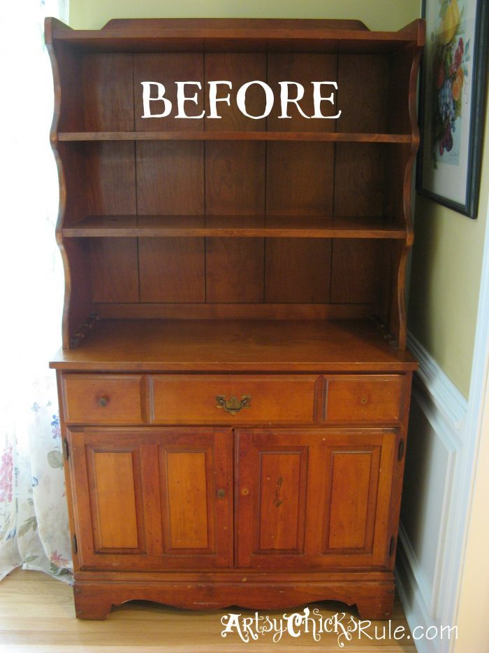 Bakers Hutch Makeover with Annie Sloan Chalk Paint artsychicksrule.com