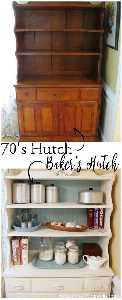 Dated 70's Hutch TURNED Bakers Hutch!! artsychicksrule.com