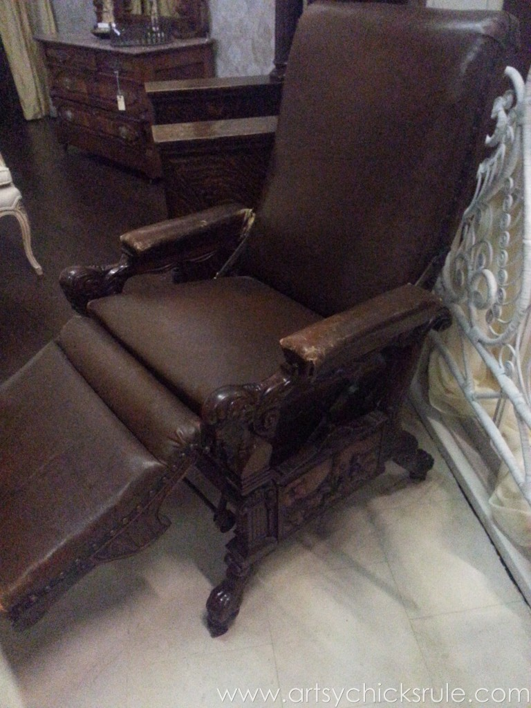 Antique leather recliner
