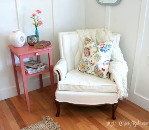 French Arm Chair Makeover Reading Nook