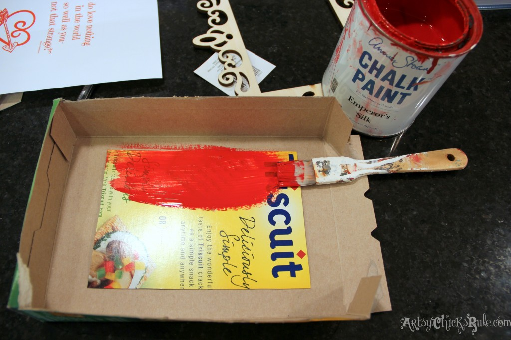 Simple & Fun Valentine's Day Craft - painting cardboard back red