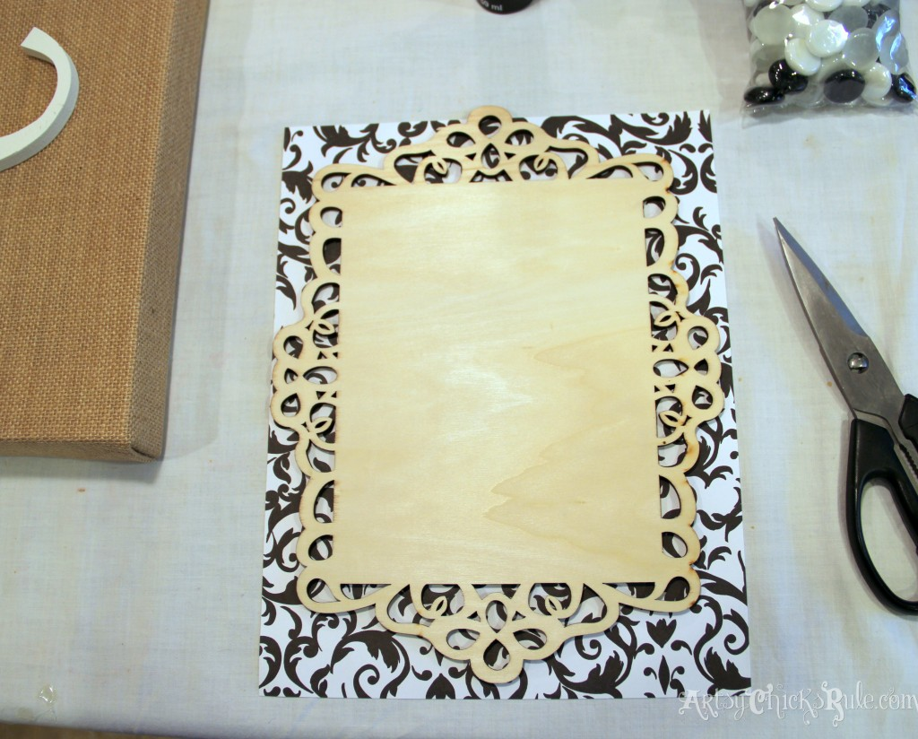 Lacy frame for monogram - Michael's-Hometalk Pinterest Party