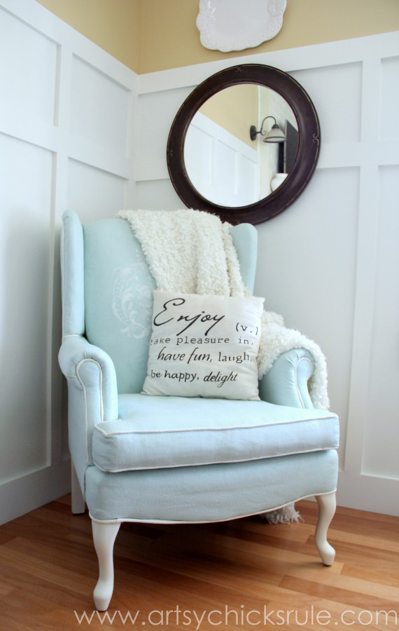 Chalk Painted Upholstered Chair Makeover - After Styled - artsychicksrule.com #paintedupholstery #chalkpaint #diy