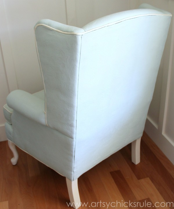 Chalk Painted Upholstered Chair Makeover - Back View - artsychicksrule.com #paintedupholstery #chalkpaint #diy