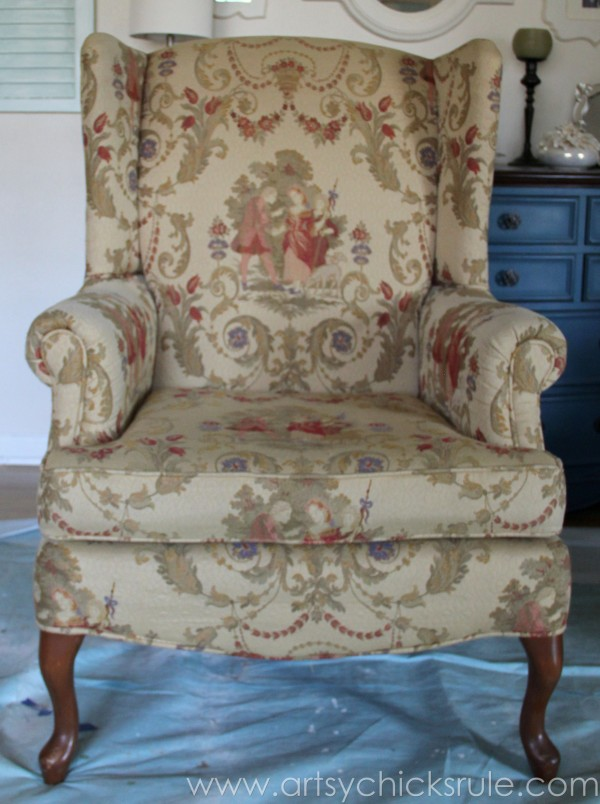 Chalk Painted Upholstered Chair Makeover - Before - artsychicksrule.com #paintedupholstery #chalkpaint #diy