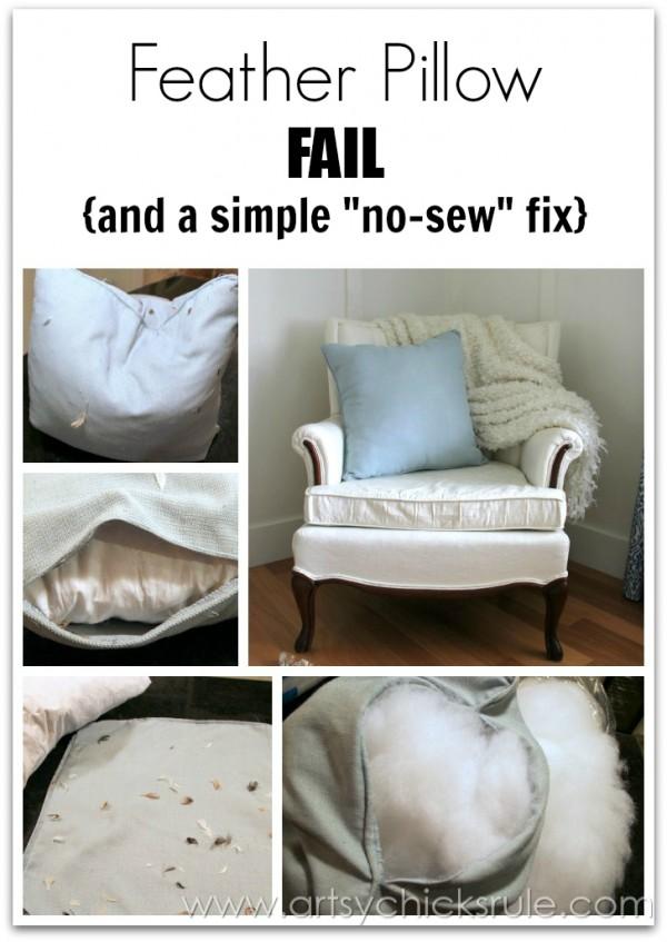 Feather Pillow Fail- a No-Sew Fix - artsychicksrule.com  #nosew