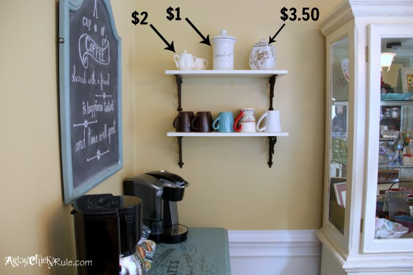 Styling and Decorating on a Budget -Coffee Bar Shelves - artsychicksrule.com #thriftydecor #budgetdecor