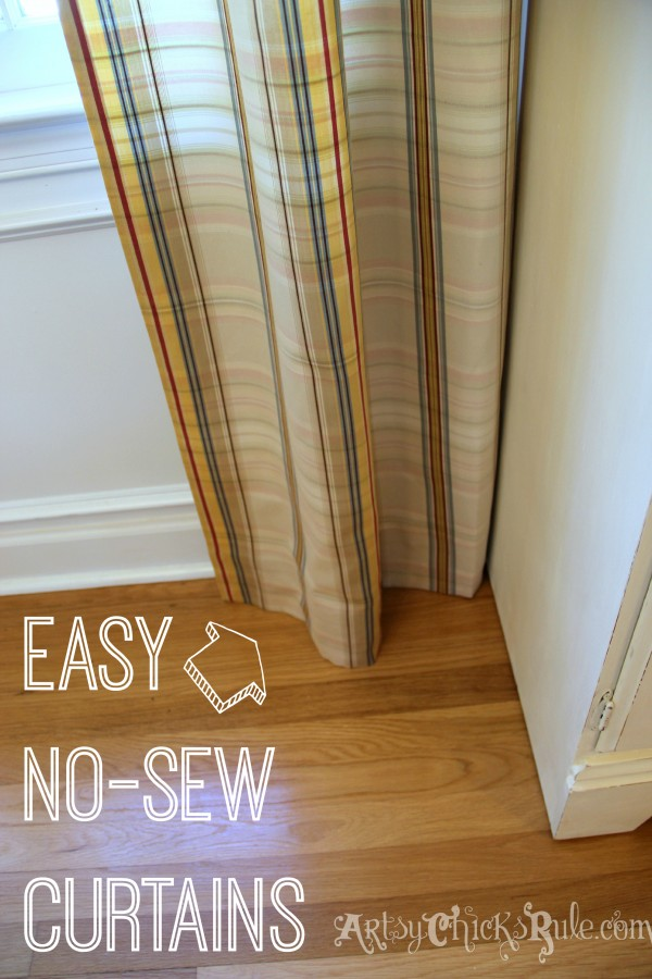 Styling and Decorating on a Budget - No Sew Panels with Clearance Bin Fabric - artsychicksrule.com #thriftydecor #budgetdecor