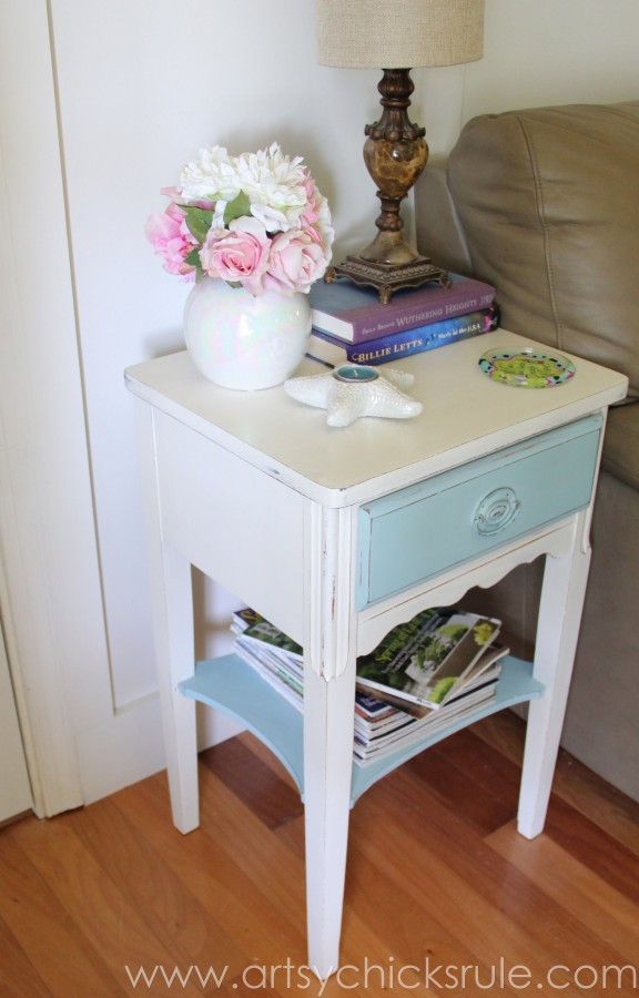 Thrifty End Table Makeover - Chalk Paint - After Side - artsychicksrule.com #chalkpaint #duckegg #shabby #coastal