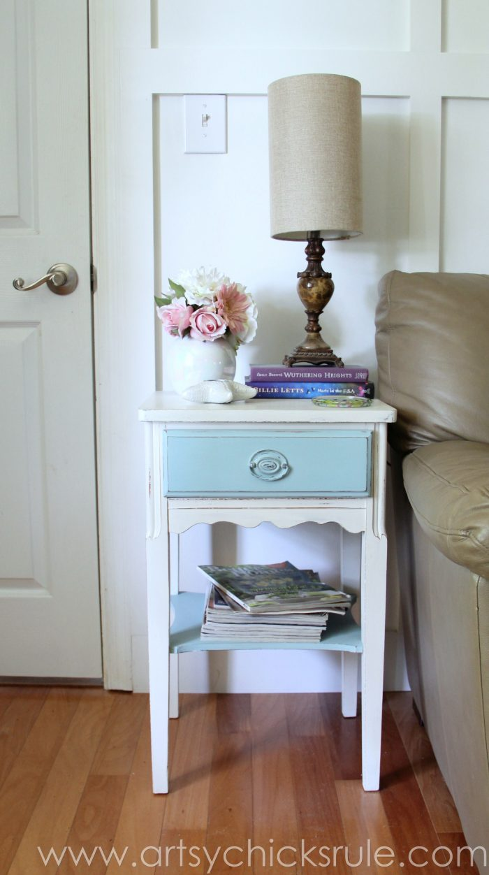 Thrifty End Table Makeover Chalk