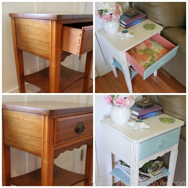 Thrifty End Table Makeover - Chalk Paint - Before and After Side- artsychicksrule.com #chalkpaint #duckegg #shabby #coastal