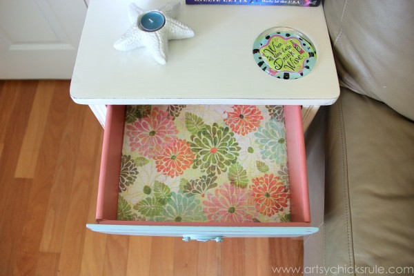 Thrifty End Table Makeover - Chalk Paint - Painted and Lined Drawer - artsychicksrule.com #chalkpaint #duckegg #shabby #coastal