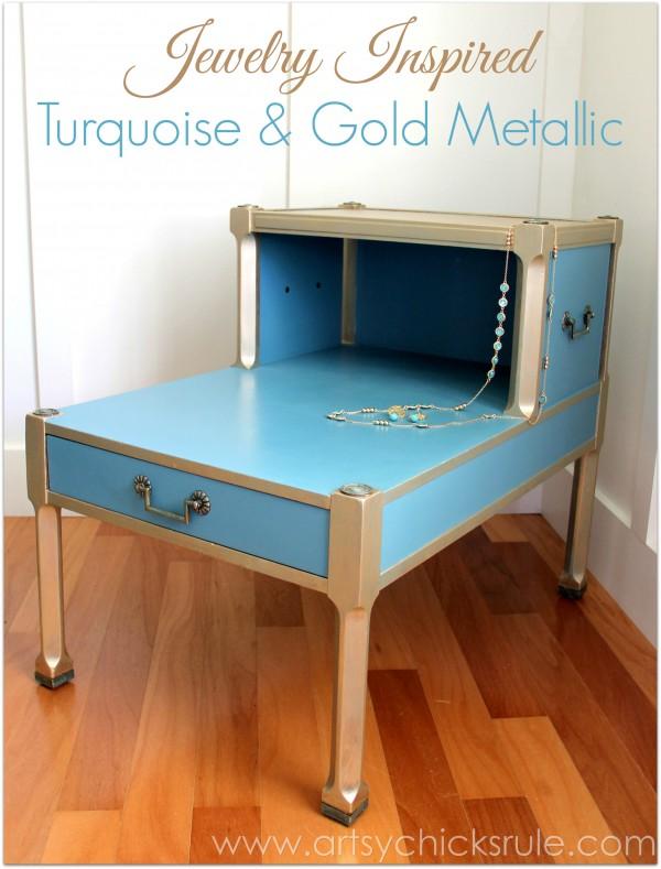 Turquoise Chalk Paint & Gold Metallic Side Table - Angle Shot - artsychicksrule.com #chalkpaint #goldmetallic #metallicfurniture #turquoise