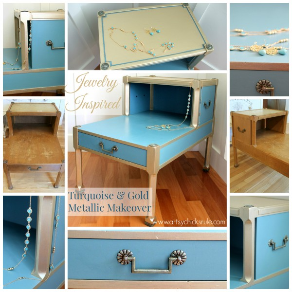 Turquoise & Gold Metallic Side Table - Before and After - Chalk Paint  #metallic #furniture #makeover #chalkpaint