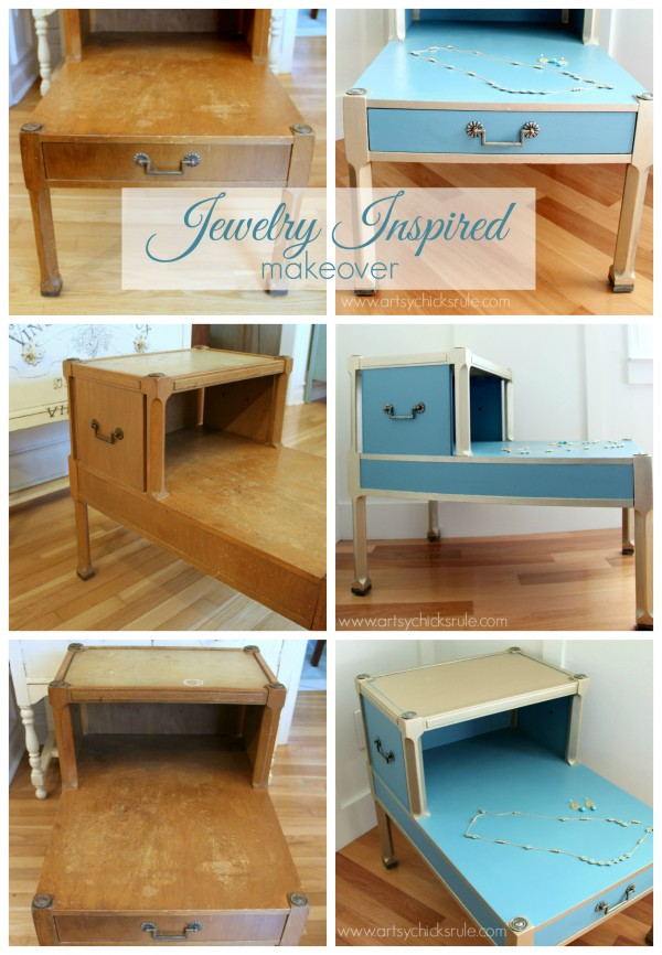 Turquoise & Gold Metallic Side Table - Before and After - artsychicksrule.com  #metallic #furniture #makeover #chalkpaint