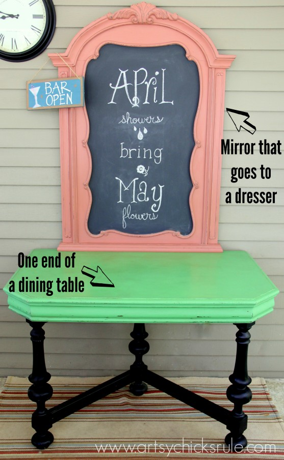 Bright and Bold Furniture - Pieces Repurposed Front Styled - artsychicksrule.com #chalkpaint #antibesgreen #scandinavianpink #repurpose