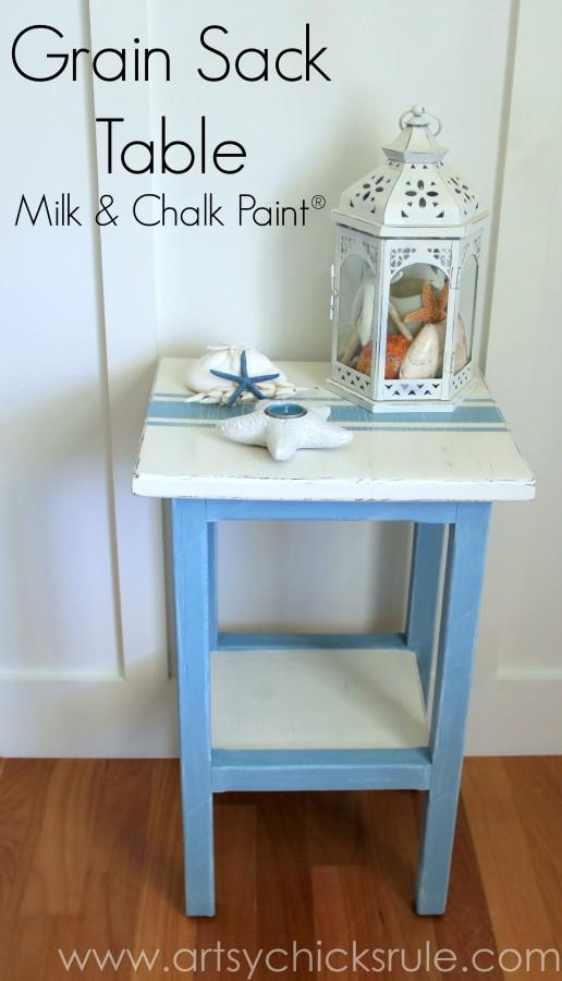 Grain Sack Table Makeover -  Coastal - #chalkpaint #milkpaint #grainsack - artsychicksrule.com