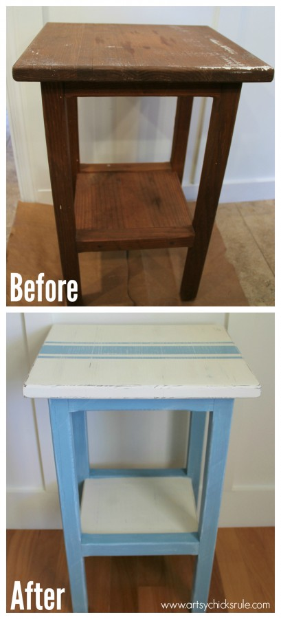 Grain Sack Table Makeover -  before and after - #chalkpaint #milkpaint #grainsack - artsychicksrule.com