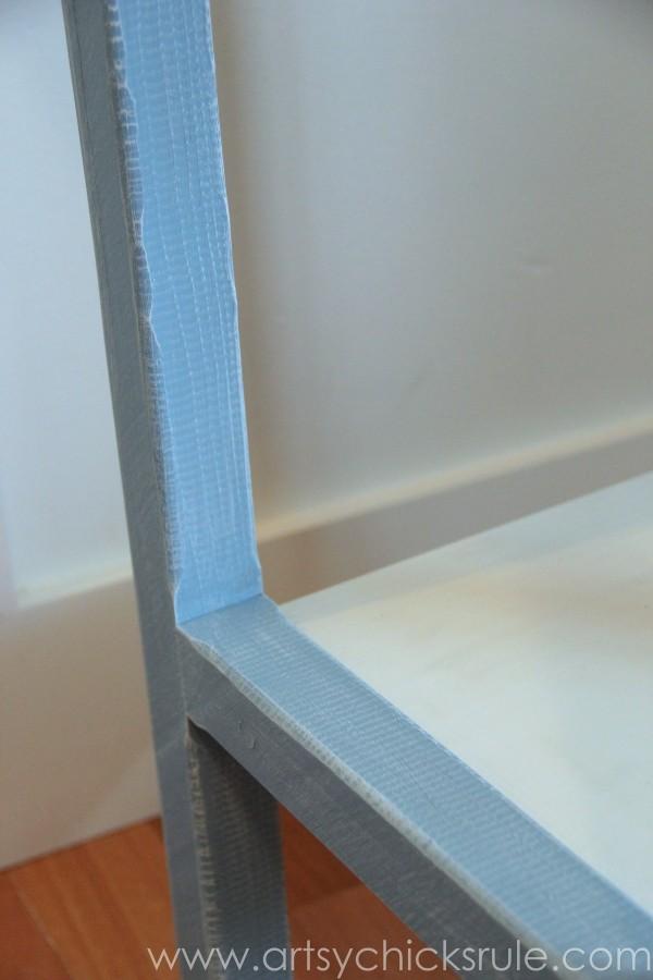 Grain Sack Table Makeover -  close up of dry brush - #chalkpaint #milkpaint #grainsack - artsychicksrule.com