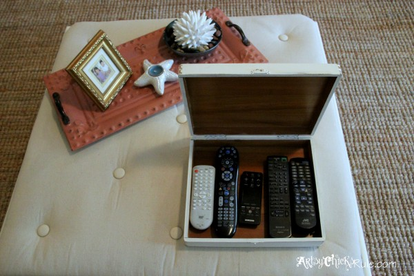 Thrifty Coffee Table turned Ottoman - Top finished w box- artsychicksrule.com #coffeetable #ottoman #diy
