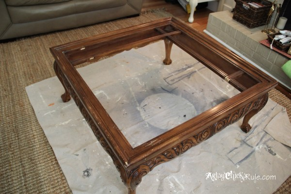Thrifty Coffee Table turned Ottoman - before, glass removed - artsychicksrule.com #coffeetable #ottoman #diy