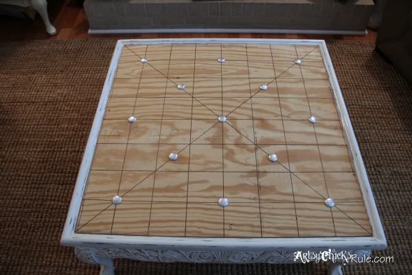 Thrifty Coffee Table turned Ottoman - button layout - artsychicksrule.com #coffeetable #ottoman #diy