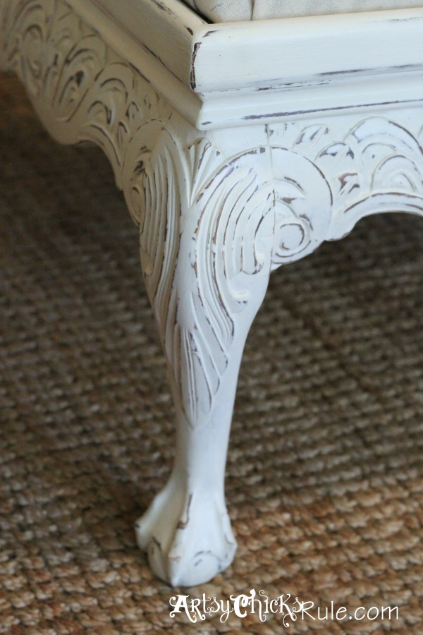 Thrifty Coffee Table turned Ottoman - leg detail - artsychicksrule.com #coffeetable #ottoman #diy