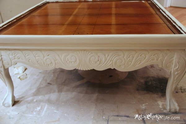 Thrifty Coffee Table turned Ottoman - recycled frame piece- artsychicksrule.com #coffeetable #ottoman #diy