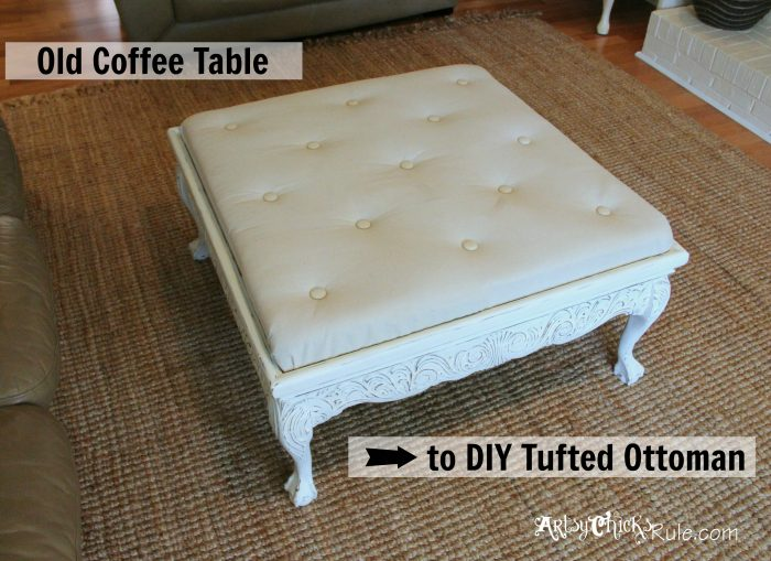 Thrift Store Coffee Table Turned Diy Tufted Ottoman