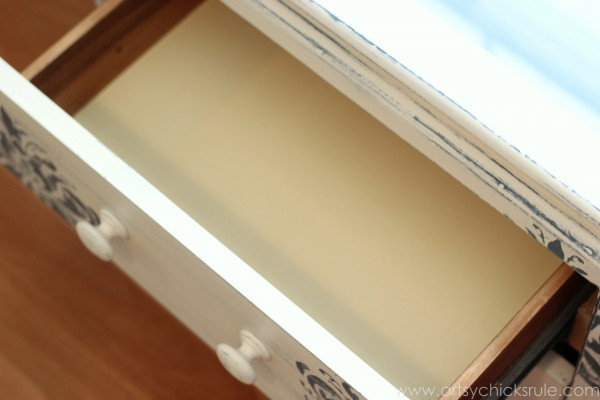Aubusson Blue Stenciled Thrift Store Night Stand Makeover {Chalk Paint} - Cream Chalk Paint Drawer- artsychicksrule.com #chalkpaint #aubussonblue #stencil #nightstands