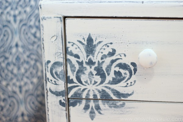 Aubusson Blue Stenciled Thrift Store Night Stand Makeover {Chalk Paint} - Up close stencil - artsychicksrule.com #chalkpaint #aubussonblue #stencil #nightstands