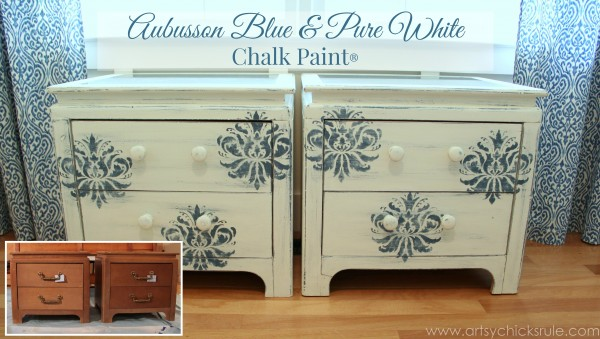 Aubusson Blue Stenciled Thrift Store Night Stand Makeover {Chalk Paint} - after and before - artsychicksrule.com #chalkpaint #aubussonblue #stencil #nightstands -