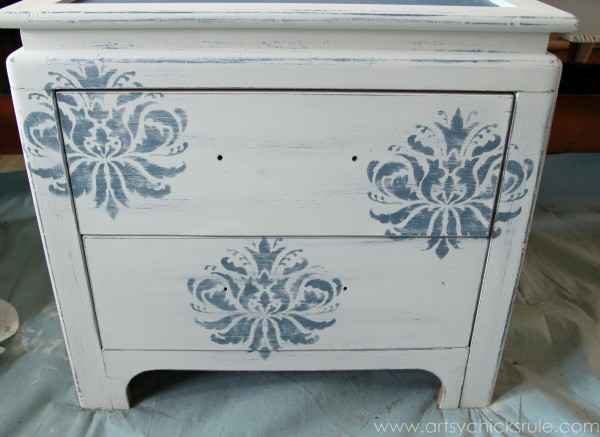 Aubusson Blue Stenciled Thrift Store Night Stand Makeover {Chalk Paint} - after sanding - artsychicksrule.com #chalkpaint #aubussonblue #stencil #nightstands