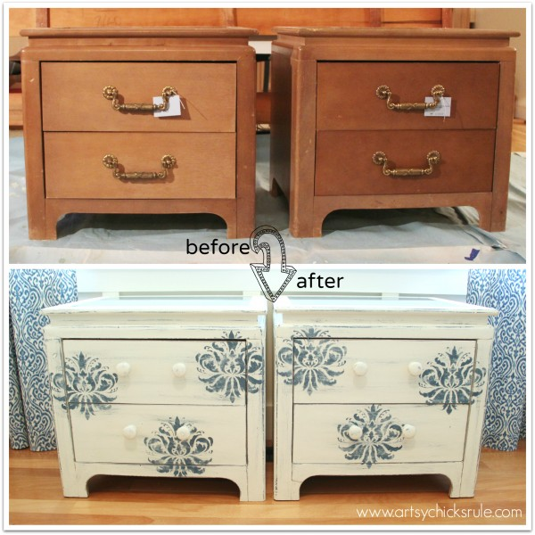 Aubusson Blue Stenciled Thrift Store Night Stand Makeover {Chalk Paint} - before and after - artsychicksrule.com #chalkpaint #aubussonblue #stencil #nightstands
