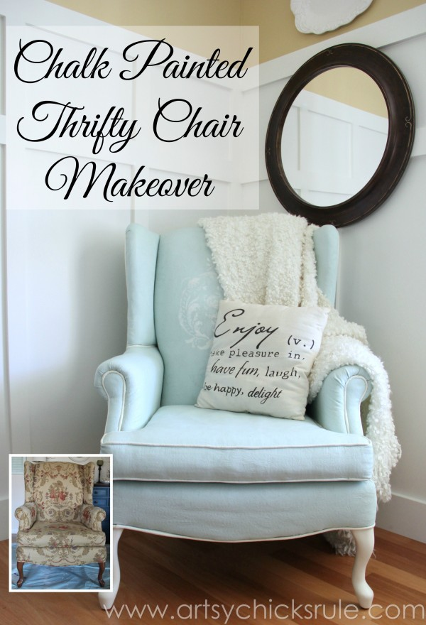 Spray Painting Upholstered Furniture #29: Chalk Painted Upholstered Chair Makeover - After Makeover - Artsychicksrule.com #paintedupholstery #chalkpaint