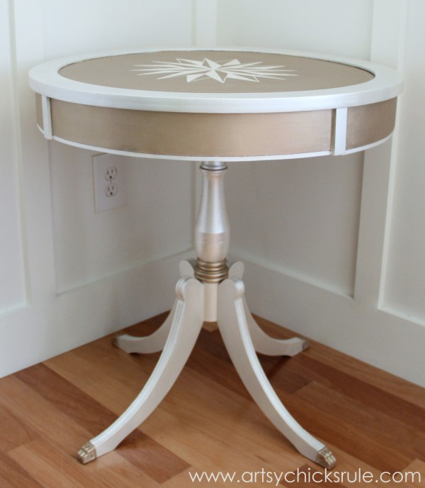Modern Masters Metallic Paint Makeover - Compass Rose Table - side finished - artsychicksrule.com #metallicpaint #furniture #compassrose #nautical #coastal